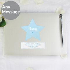 Personalised Stitch & Dot Design Baby Boy Hardback Guest Book & Pen