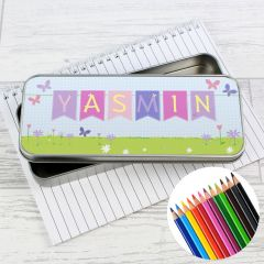 Personalised Garden BunBoxg Pencil Box with Pencil Crayons