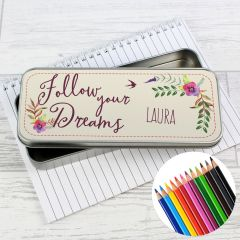 Personalised Dreams Pencil Box with Pencil Crayons