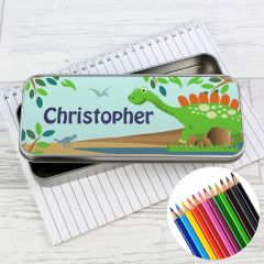 Personalised Dinosaur Pencil Box with Pencil Crayons