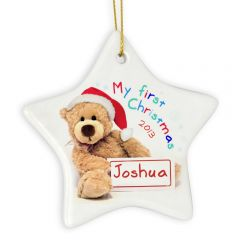 Personalised My First Christmas Teddy Ceramic Star Decoration