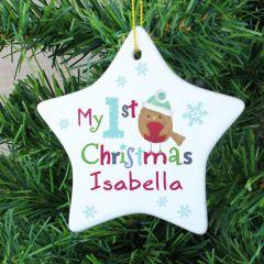 Personalised Felt Stitch Design Robin 'My 1st Christmas' Ceramic Star Decoration
