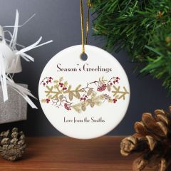 Personalised Christmas Floral Round Hanging Ceramic Decoration