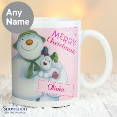 Personalised The Snowman and Snowdog Design Pink Mug