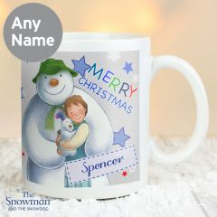 Personalised The Snowman and Snowdog Design Blue Mug