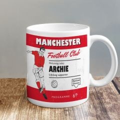 Personalised Vintage Design Football Red and White Supporter's Mug