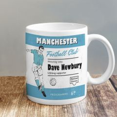 Personalised Vintage Design Football Sky Blue and White Supporter's Mug