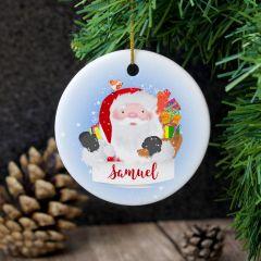Personalised Santa Claus Round Hanging Ceramic Decoration