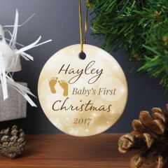 Personalised Neutral My 1st Christmas Round Hanging Ceramic Decoration