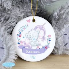 Personalised Tiny Tatty Teddy Bear Unicorn Round Decoration
