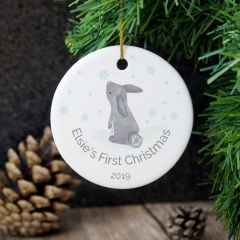 Personalised 1st Christmas Bunny Round Hanging Ceramic Decoration