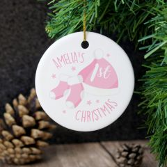 Personalised 1st Christmas Pink Round Hanging Ceramic Decoration