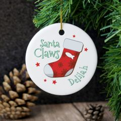 Personalised Santa Claws Round Hanging Ceramic Decoration