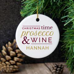 Personalised Prosecco & Wine Round Hanging Ceramic Decoration