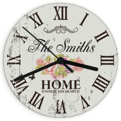 Personalised Shabby Chic Design Floral Glass Clock
