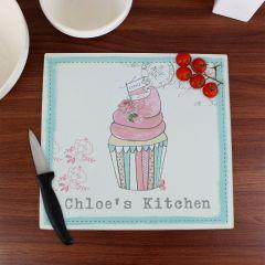 Personalised Vintage Design Pastel Cupcake Glass Chopping Board/Worktop Saver
