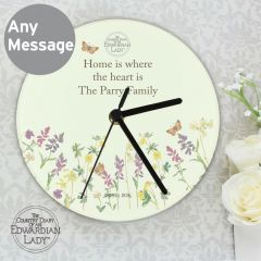 Personalised Country Diary Design Wild Flowers Glass Clock