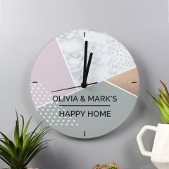 Personalised Geometric Design Glass Clock