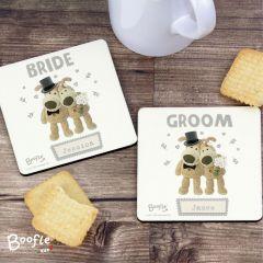 Personalised Boofle Bear Wedding Coaster Set