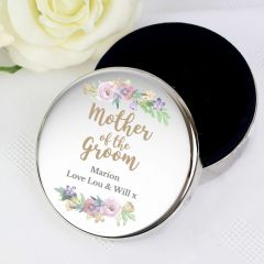 Personalised Mother of the Groom 'Floral Wedding' Round Trinket Box Gift