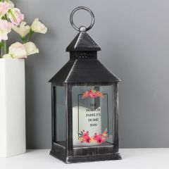 Personalised Floral Design Rustic Black Lantern