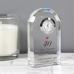 Personalised Ruby Anniversary Crystal Clock