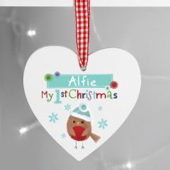 Personalised Felt Stitch Design Robin 'My 1st Christmas' Wooden Heart Decoration