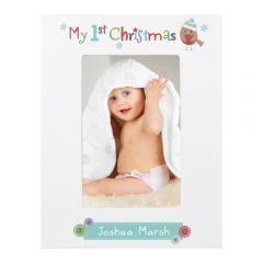 Personalised Felt Stitch Robin My 1st Christmas White Wooden Photo Frame 6x4