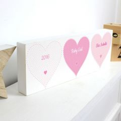 Personalised Stitch & Dot Design Baby Girl Wooden Block Sign