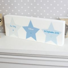 Personalised Stitch & Dot Design Baby Boy Wooden Block Sign