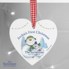 Personalised The Snowman and Snowdog Design Wooden Heart Decoration
