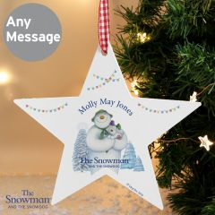 Personalised The Snowman and Snowdog Design Wooden Star Decoration
