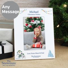 Personalised The Snowman and the Snowdog White Photo Frame 6x4
