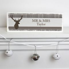 Personalised Highland Stag Design Wooden Block Sign