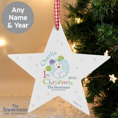 Personalised The Snowman and Snowdog Design My 1st Christmas Blue Wooden Star Decoration
