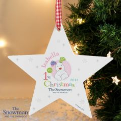 Personalised The Snowman and Snowdog Design My 1st Christmas Pink Wooden Star Decoration