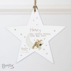 Personalised Boofle Bear Baby Wooden Star Decoration