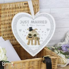 Personalised Boofle Bear Wedding 22cm Large Wooden Heart Decoration