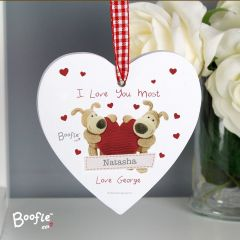 Personalised Boofle Bear Shared Heart Wooden Heart Decoration