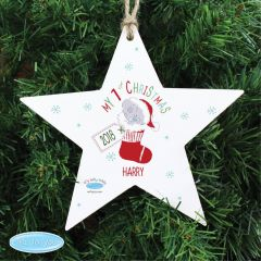 Personalised Tiny Tatty Teddy Bear My 1st Christmas Stocking Wooden Star Decoration
