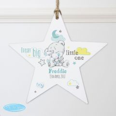 Personalised Tiny Tatty Teddy Bear Dream Big Blue Wooden Star Decoration