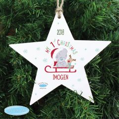 Personalised Tiny Tatty Teddy Bear My 1st Christmas Sleigh Wooden Star Decoration