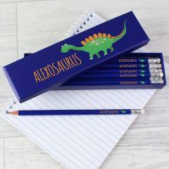 Personalised Dinosaur Design Box of 12 Blue HB Pencils