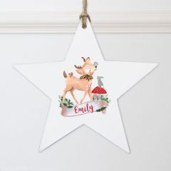 Personalised Festive Scene Fawn Wooden Star Decoration