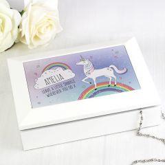Personalised Unicorn Design Jewellery Box