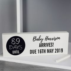 Personalised Classic Design Chalk Countdown Wooden Block Sign