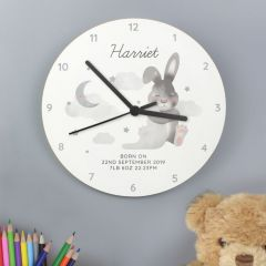 Personalised Baby Bunny Rabbit White Wooden Clock