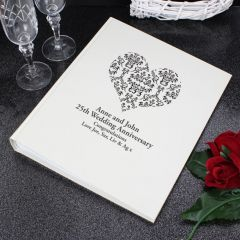 Personalised Black Damask Heart Traditional Photo Album