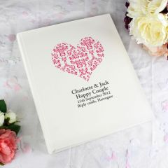 Personalised Ruby Damask Heart Traditional Photo Album