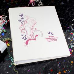 Personalised Pink Butterfly Swirl Traditional Photo Album